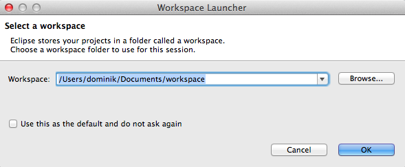 Eclipse define workspace prompt