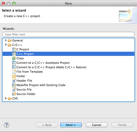 Eclipse Mac OS X create new C++ project