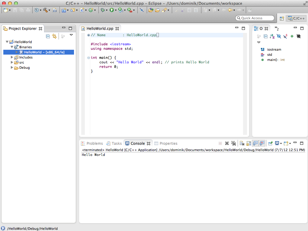 Eclipse C++ IDE Hello World on Mac OS X