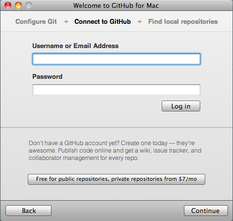 GitHub for Mac add your user data